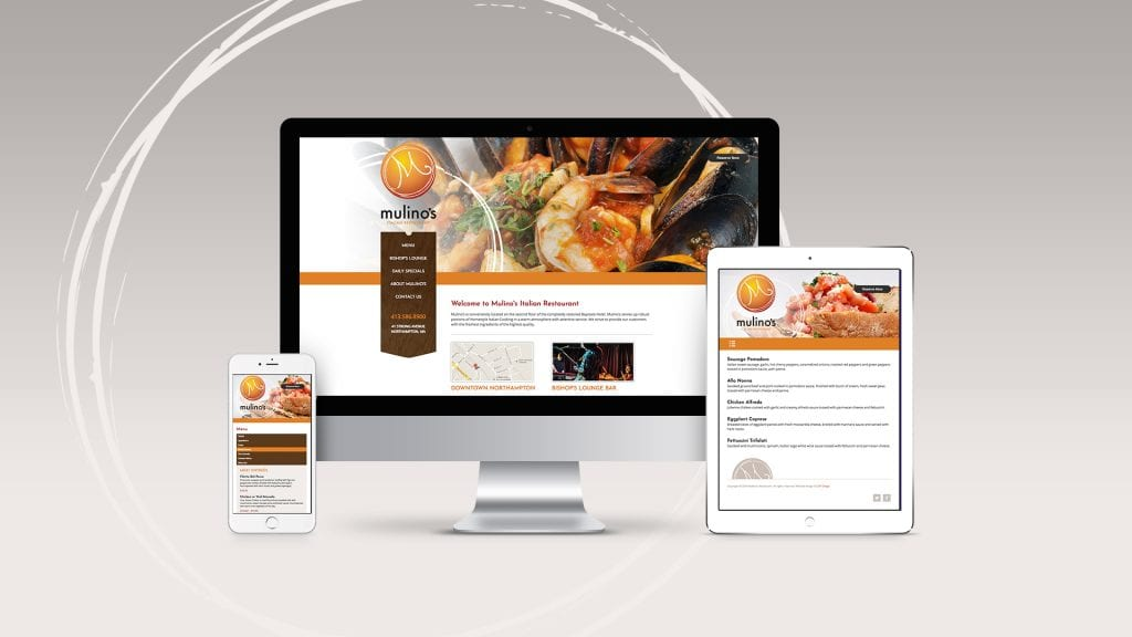 Mulino's Italian Restaurant website design and development by DIF Design
